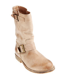 Buffalo Washed Leather Boots Tan