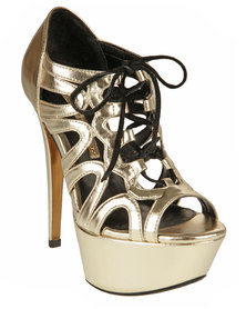 Buffalo Platform Stiletto Sandals Gold