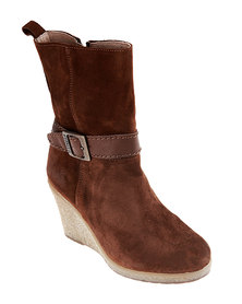Buffalo Suede Wedge Boots Brown