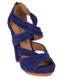 Buffalo Suede Heeled Sandals Blue