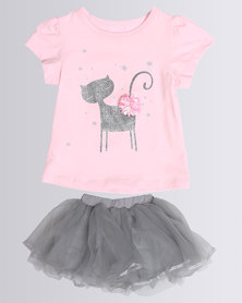 Bugsy Boo Floral Tulle Dress Pink