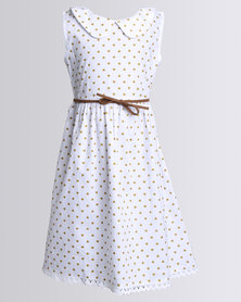 Bugsy Boo Hearts Hearts & Hearts Dress With Lace Tan Belt White