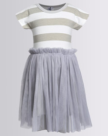 Bugsy Boo Striped Tulle Dress Grey