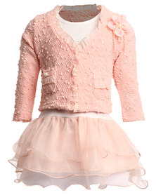 Bugsy Boo Tulle Dress and Jacket Set Pink