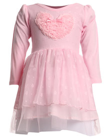 Bugsy Boo Heart Winter Tulle Pink