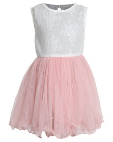 Bugsy Boo Lace Tulle Dress Pink