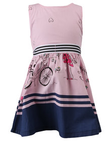 Bugsy Boo Pink and Navy Princess Dress Pink