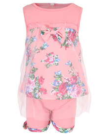 Bugsy Boo Tulle Top and Shorts Set Pink