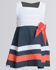 Bugsy Boo Stripy May Dress Blue and White