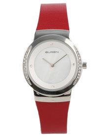 Buren Diamante Minimalist Dial Watch Red