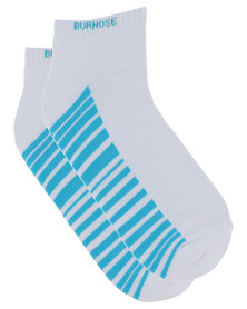 Burhouse Mens Sporty Socks With Stripe Turquoise/White