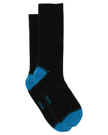 Burhouse Mens Socks With Stripes On Cuff Turquoise