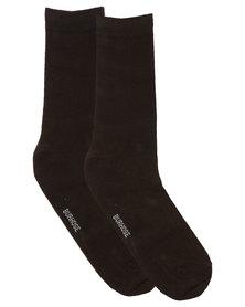 Burhouse Mens Plain Socks Chocolate Brown