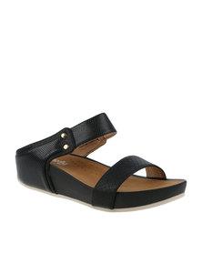 Butterfly Feet Poppy Slip On Wedge Sandal Black