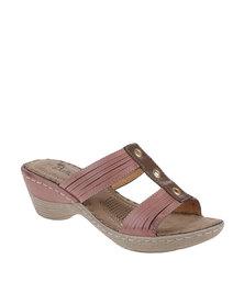 Butterfly Feet Leda Heeled Platform T-Bar Sandal Burgundy