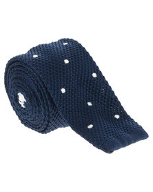 CSquared Polka Dot Knitted Tie Navy