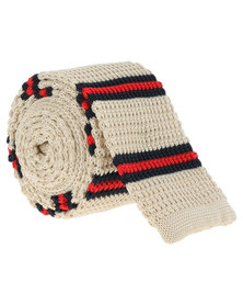 C Squared Striped Knitted Tie White