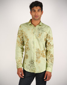 CSquared Floral Print Shirt Green