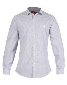 CSquared Geometric Print Long Sleeve Shirt Blue