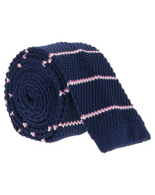 CSquared Horizontal Stripe Knitted Tie Navy