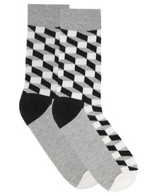 C Squared Geometric Socks Black