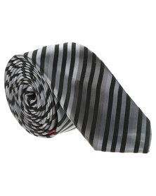 CSquared Narrow Stripe Skinny Tie Grey