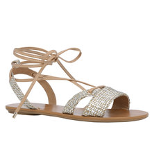 Call It Spring Caowien Lace-Up Flat Sandals Sliver