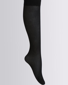 Cameo Knee-High Clip Design Tights Black
