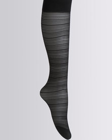 Cameo Knee-High Filigree Design Tights Black