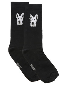 Cameo Scotty Dog Socks Black