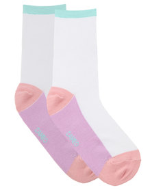 Cameo Colour Block Socks White