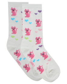 Cameo Love Cat Socks White Multi