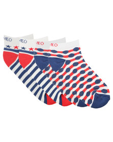 Cameo Spots and Stripes Two Pack Low Cut Socks Multi