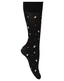 Cameo Loving Bear Socks Black