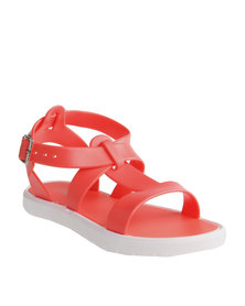 Candy Plain Jelly Sandals Coral