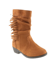 Candy Fringed Mid Boot Tan