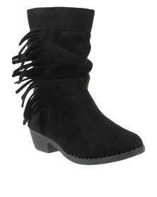 Candy Fringed Mid Boot Black