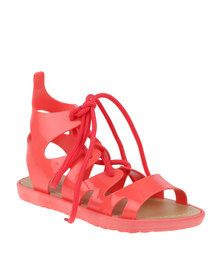 Candy Lace Up Jelly Sandal Coral
