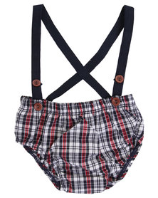 Candy Floss Clouds Check Suspenders Red/Navy