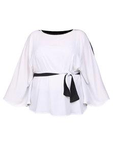 Captive8 Chiffon Kimono Milk White and Black
