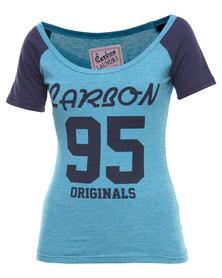 Carbon Laundry Number Raglan T-shirt Green