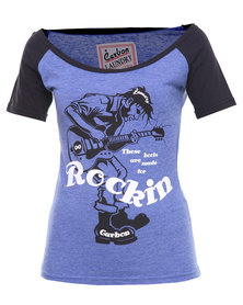 Carbon Laundry Rock Raglan T-shirt Blue