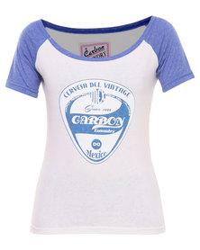 Carbon Laundry Cervesa Del Vintage Raglan T-shirt White
