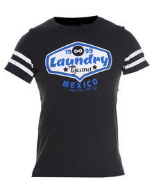 Carbon Laundry Trading Print Baseball T-Shirt Black