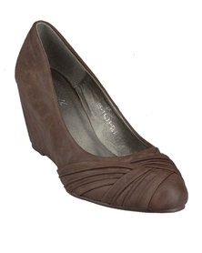 Casoli Zaila Rouched Wedges Brown
