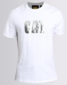 Caterpillar Mens Reflective Logo Tee White