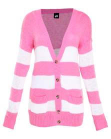 Catwalk 88 V Cardigan with Patch Pockets Pink