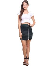 Catwalk 88 Double Zip Front Skirt Green Multi