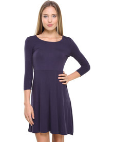 Catwalk High Rise Skater Day Dress with 3/4 Sleeves Navy
