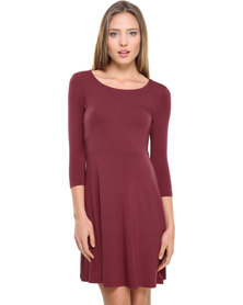 Catwalk 88 High Rise Skater Day Dress with 3/4 Sleeves Burgundy